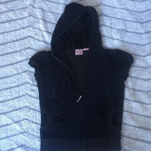 Juicy Couture Black Sleeveless Full Zip Jumper Top